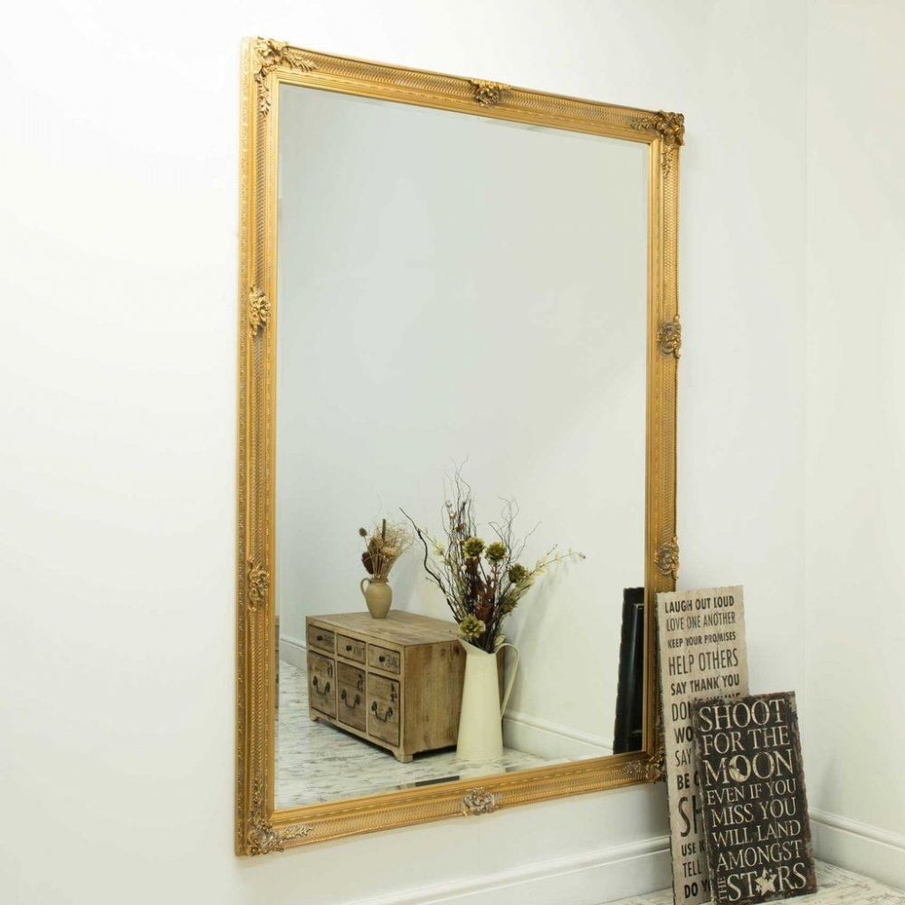 adam style framed gold bevelled wall mirror